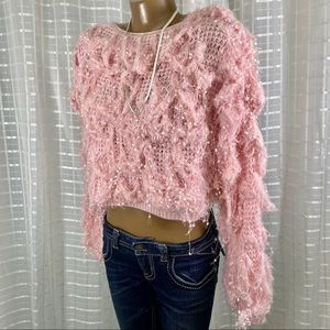 "Cropped Pink ""Messy"" Knit Sweater S NWOT"